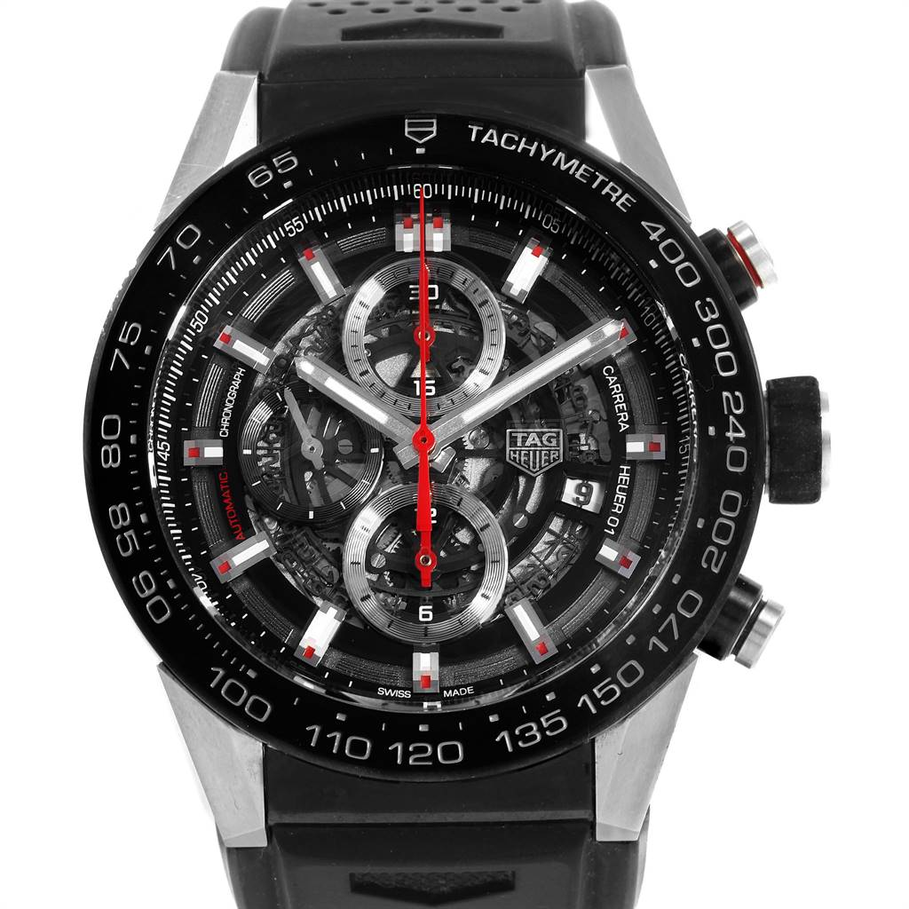 24052 TAG Heuer Carrera Calibre Heuer 01 Skeleton Dial Mens Watch CAR2A1Z SwissWatchExpo