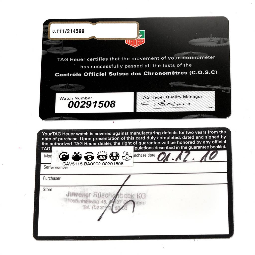 Tag Heuer Grand Carrera Calibre 36 RS Caliper Mens Watch CAV5115 Box Card SwissWatchExpo