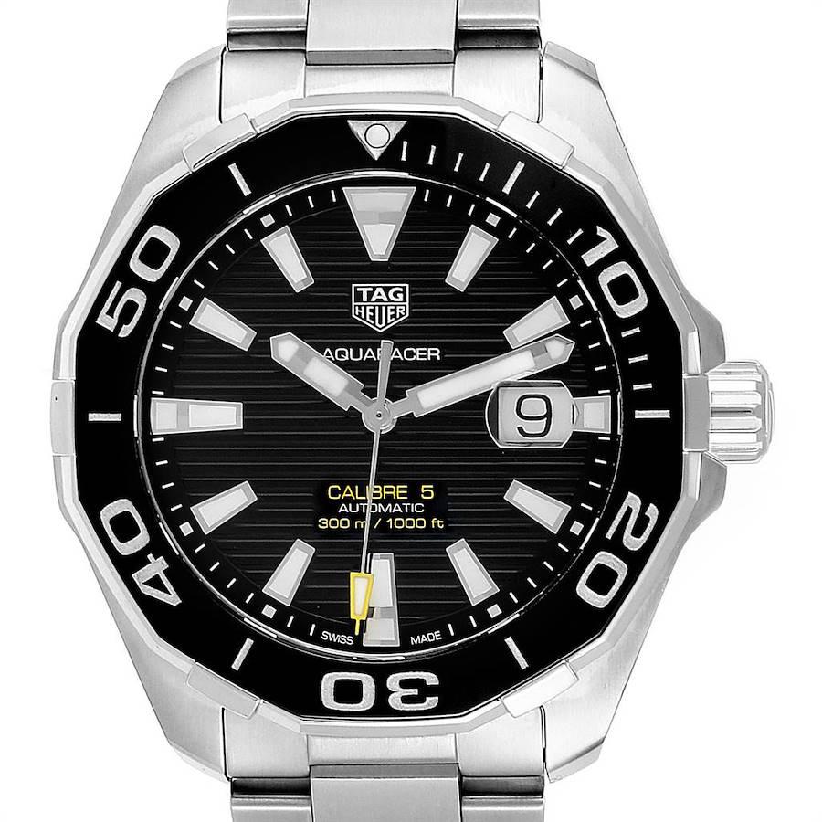 Tag Heuer Aquaracer Calibre 5 Black Dial Steel Mens Watch WAY201A SwissWatchExpo