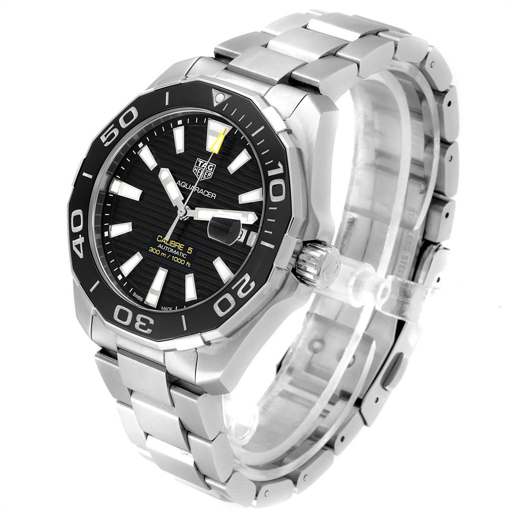 24181 Tag Heuer Aquaracer Calibre 5 Black Dial Steel Mens Watch WAY201A SwissWatchExpo