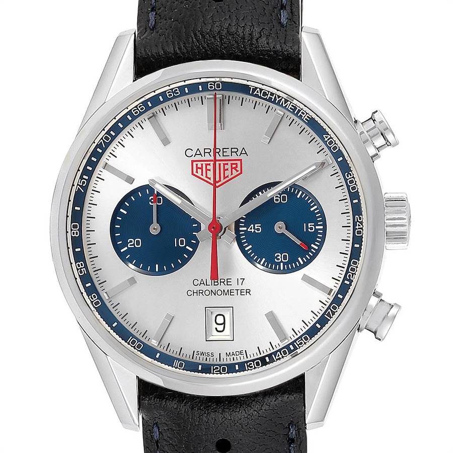 Tag Heuer Carrera Silver Dial Chronograph Mens Watch CV5111 Box Card SwissWatchExpo