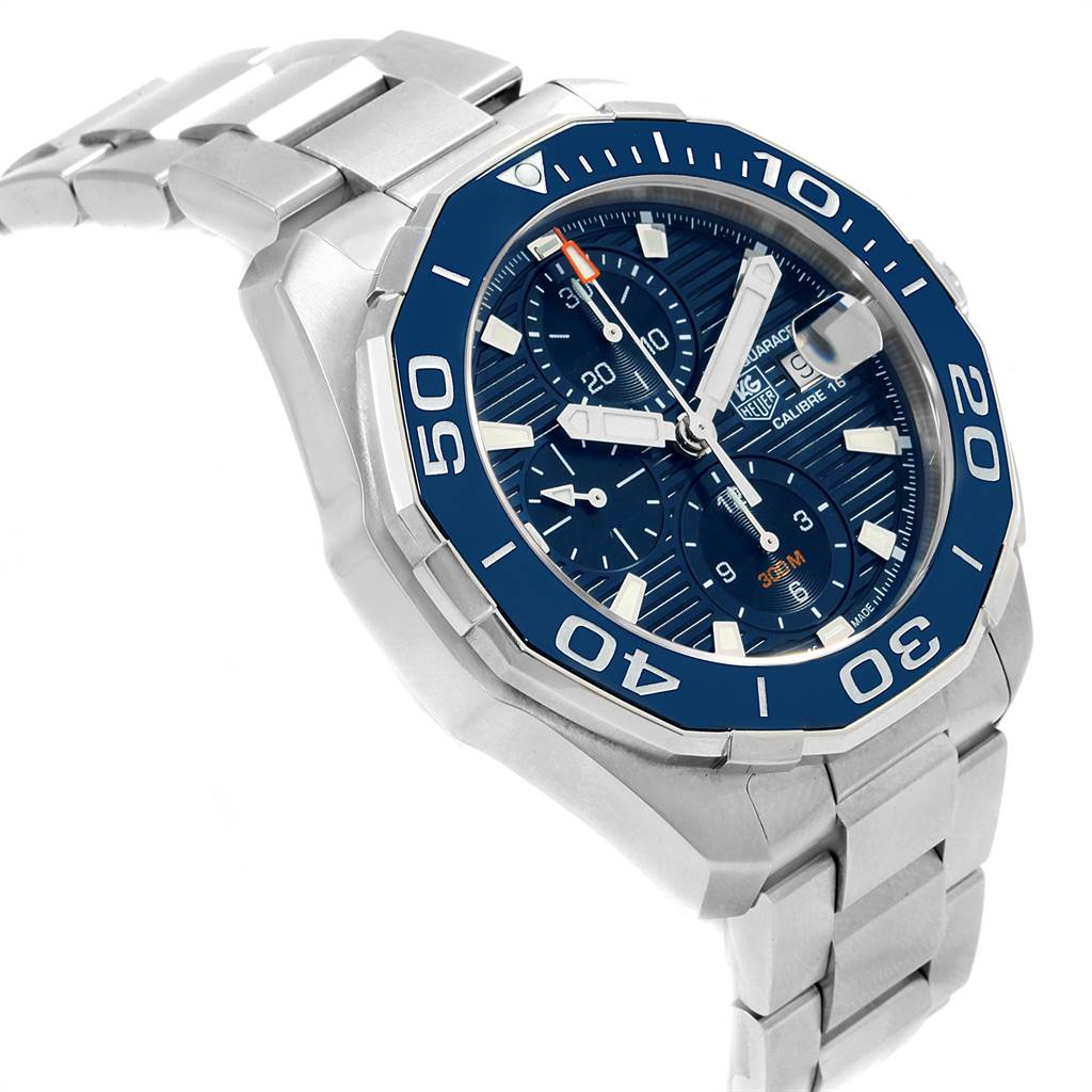 24671 Tag Heuer Aquaracer Blue Dial Chronograph Steel Mens Watch CAY211B SwissWatchExpo
