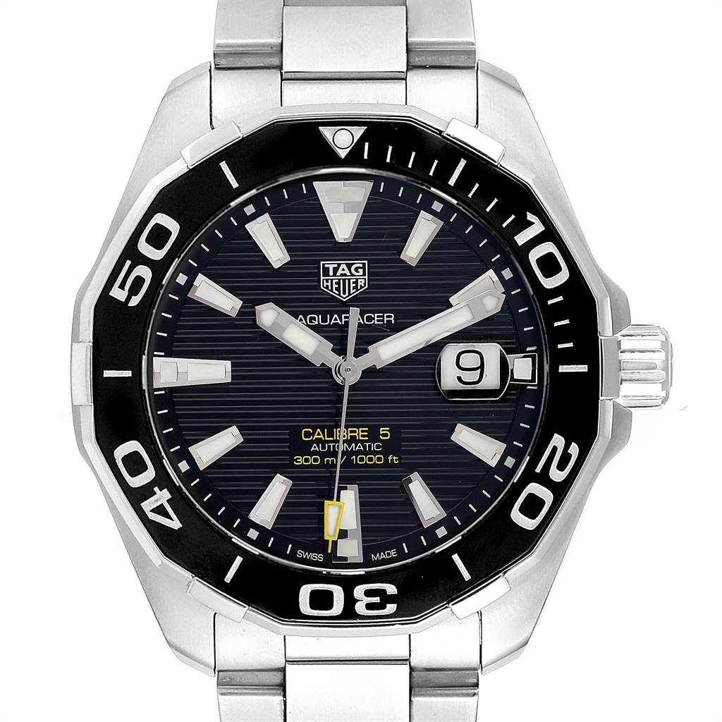 Tag Heuer Aquaracer Calibre 5 Steel Mens Watch WAY201A Box Card SwissWatchExpo