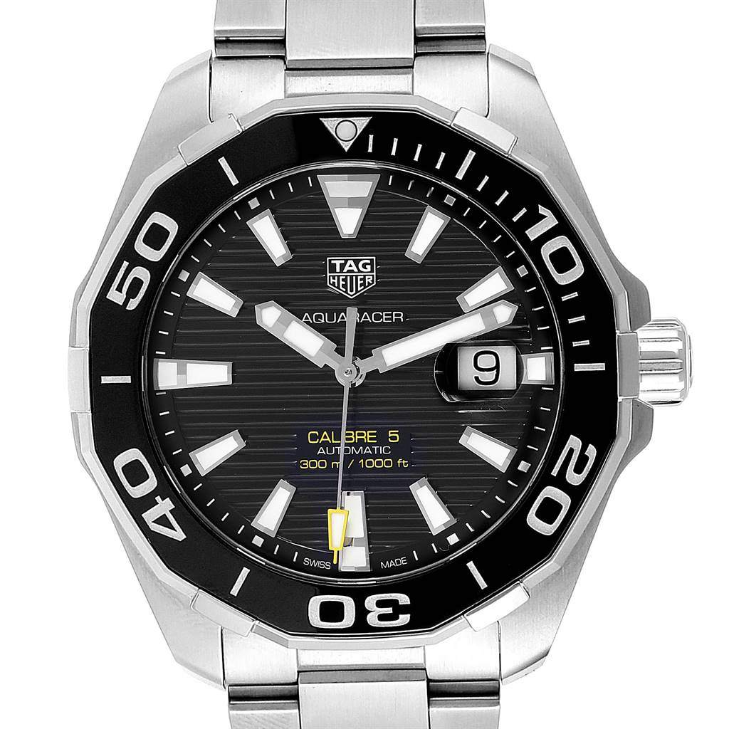 Tag Heuer Aquaracer Calibre 5 Black Dial Mens Watch WAY201A Box Card SwissWatchExpo