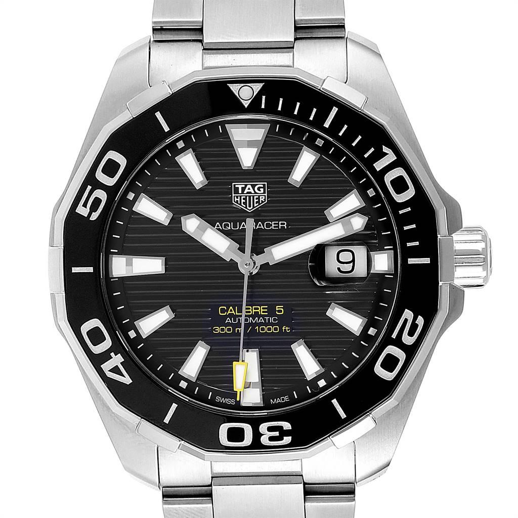 24206x Tag Heuer Aquaracer Calibre 5 Black Dial Mens Watch WAY201A Box Card SwissWatchExpo