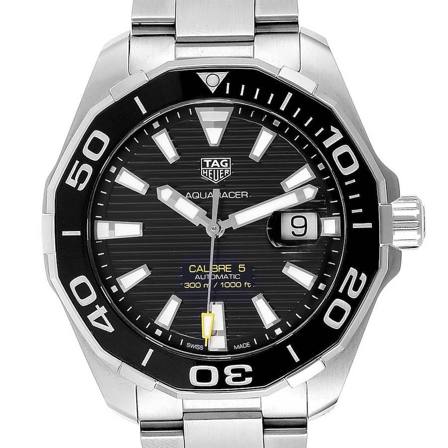 Tag Heuer Aquaracer Calibre 5 Black Dial Mens Watch WAY201A Box Card SwissWatchExpo