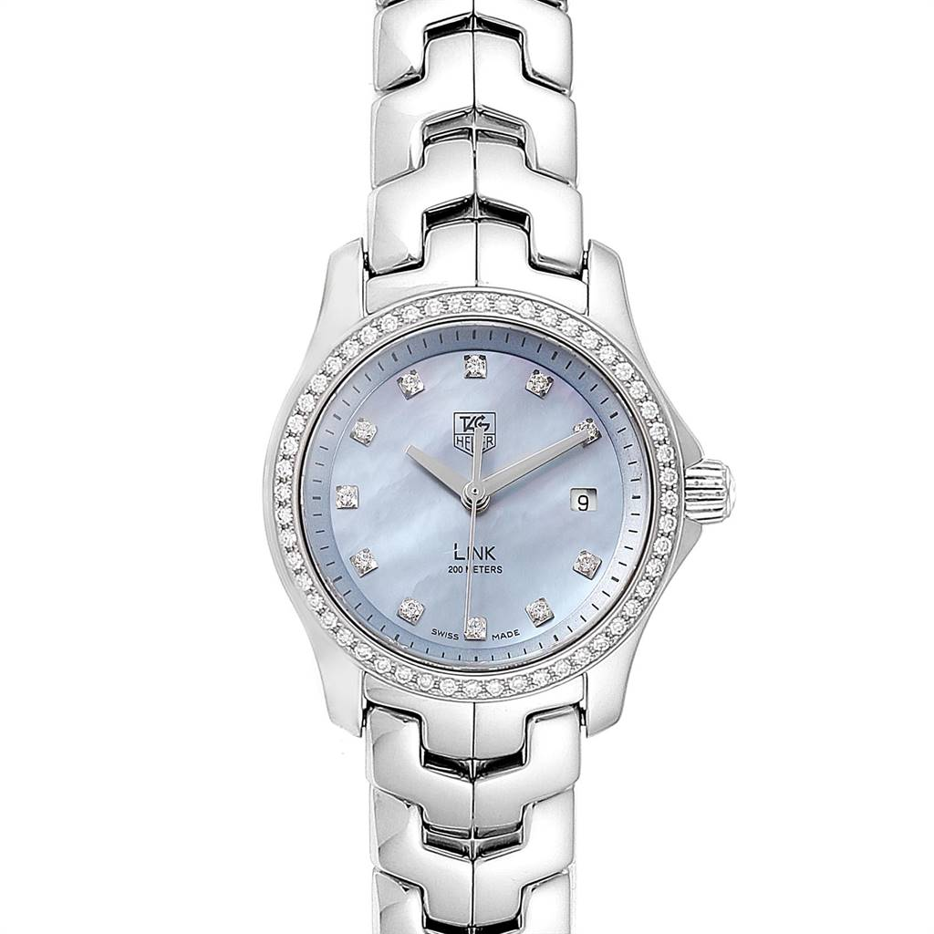 12040 TAG Heuer Link Blue Mother of Pearl Diamond Ladies Watch WJF131F SwissWatchExpo