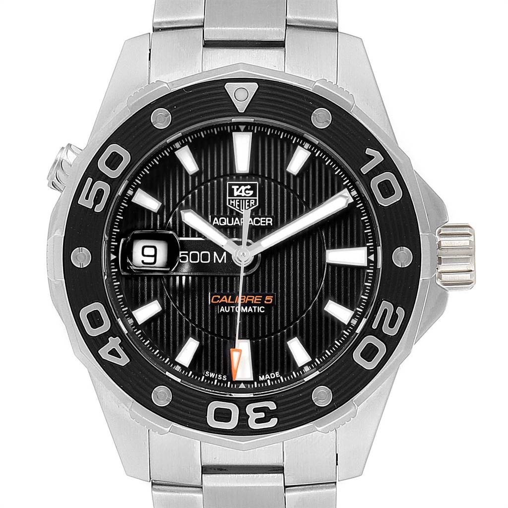 24204 Tag Heuer Aquaracer Calibre 5 500M Steel Mens Watch WAJ2110 Box Card SwissWatchExpo