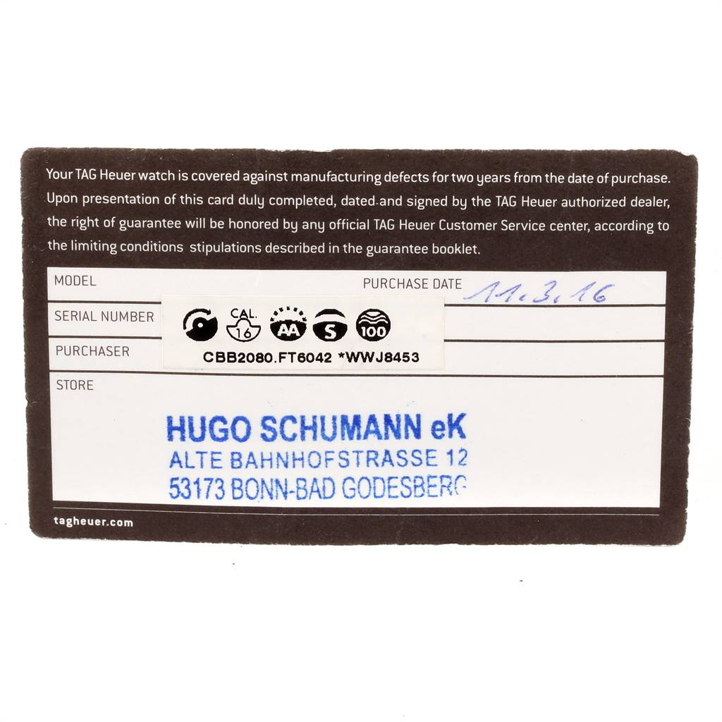 Tag Heuer Carrera Calibre 16 PVD Titanium Mens Watch CBB2080 Box Card SwissWatchExpo