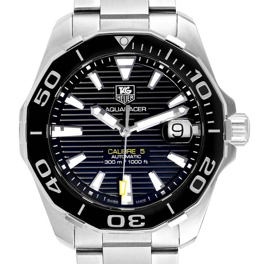 Tag Heuer Aquaracer Black Dial Steel Mens Watch WAY211A Box Card SwissWatchExpo