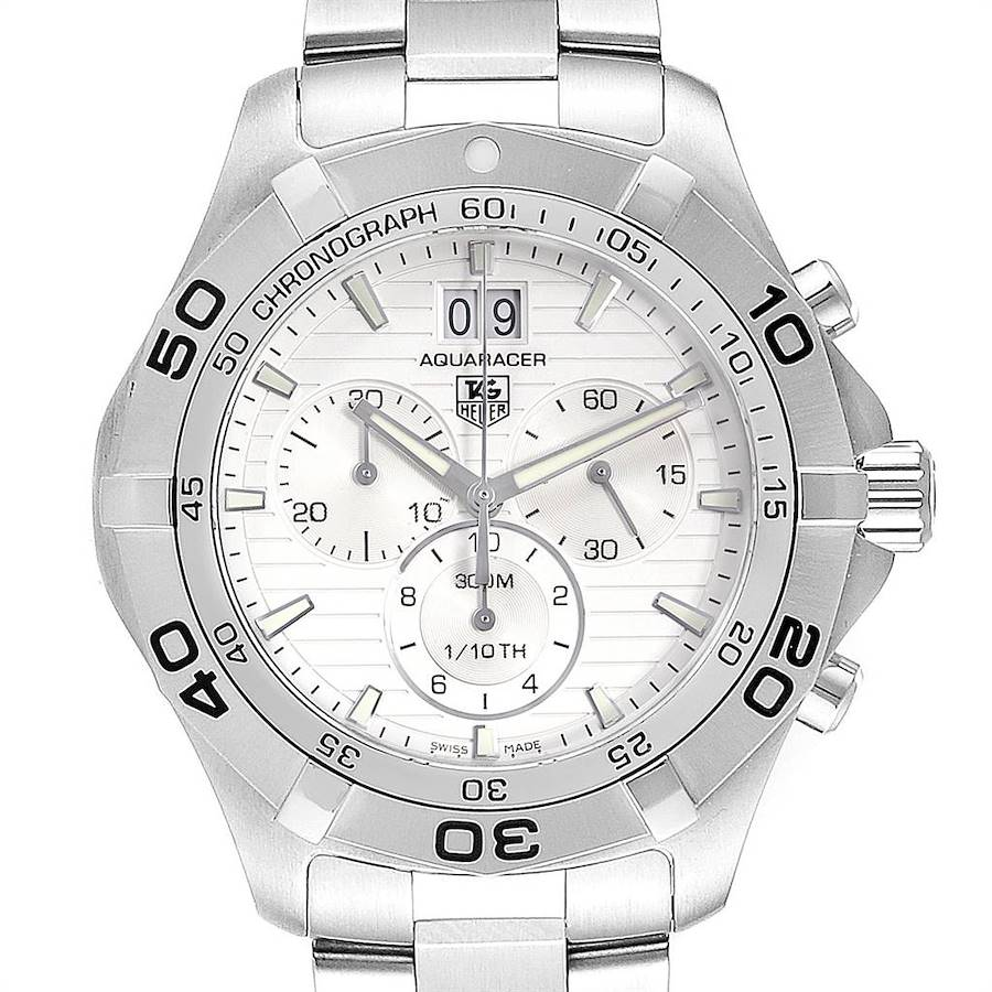Tag Heuer Aquaracer Grande Date Chronograph Steel Mens Watch CAF101B SwissWatchExpo