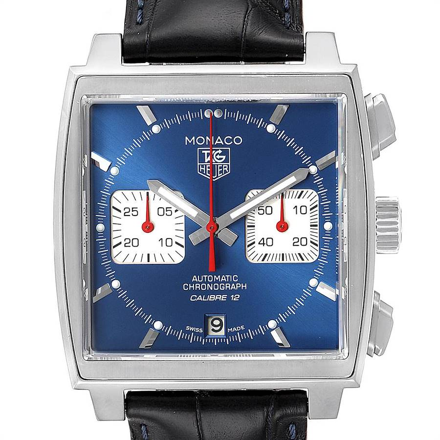 Tag Heuer Monaco Calibre 12 Blue Dial Black Strap Mens Watch CAW2111 SwissWatchExpo