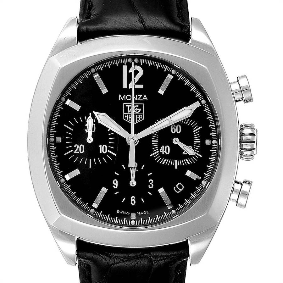 Tag Heuer Monza Black Dial Chronograph Steel Mens Watch CR2113 SwissWatchExpo