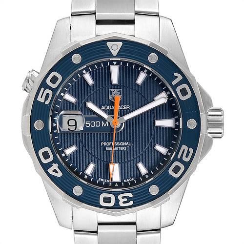 Photo of Tag Heuer Aquaracer 500M Blue Dial Orange Hand Steel Mens Watch WAJ1112