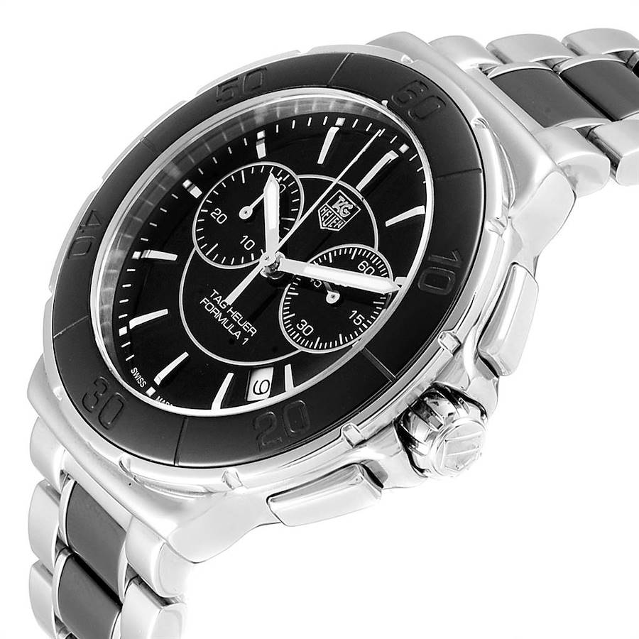 Tag Heuer Formula 1 Chronograph Steel Ceramic Mens Watch CAH1210 Card SwissWatchExpo