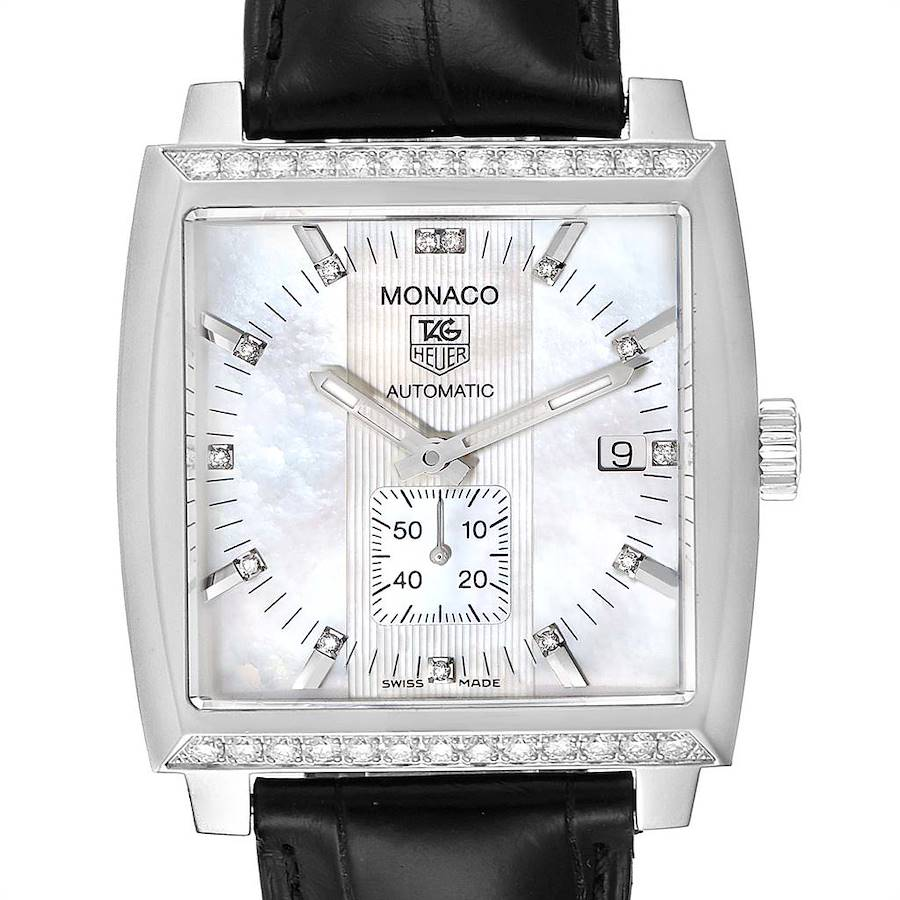 Tag Heuer Monaco Mother of Pearl Diamond Mens Watch WW2114 SwissWatchExpo