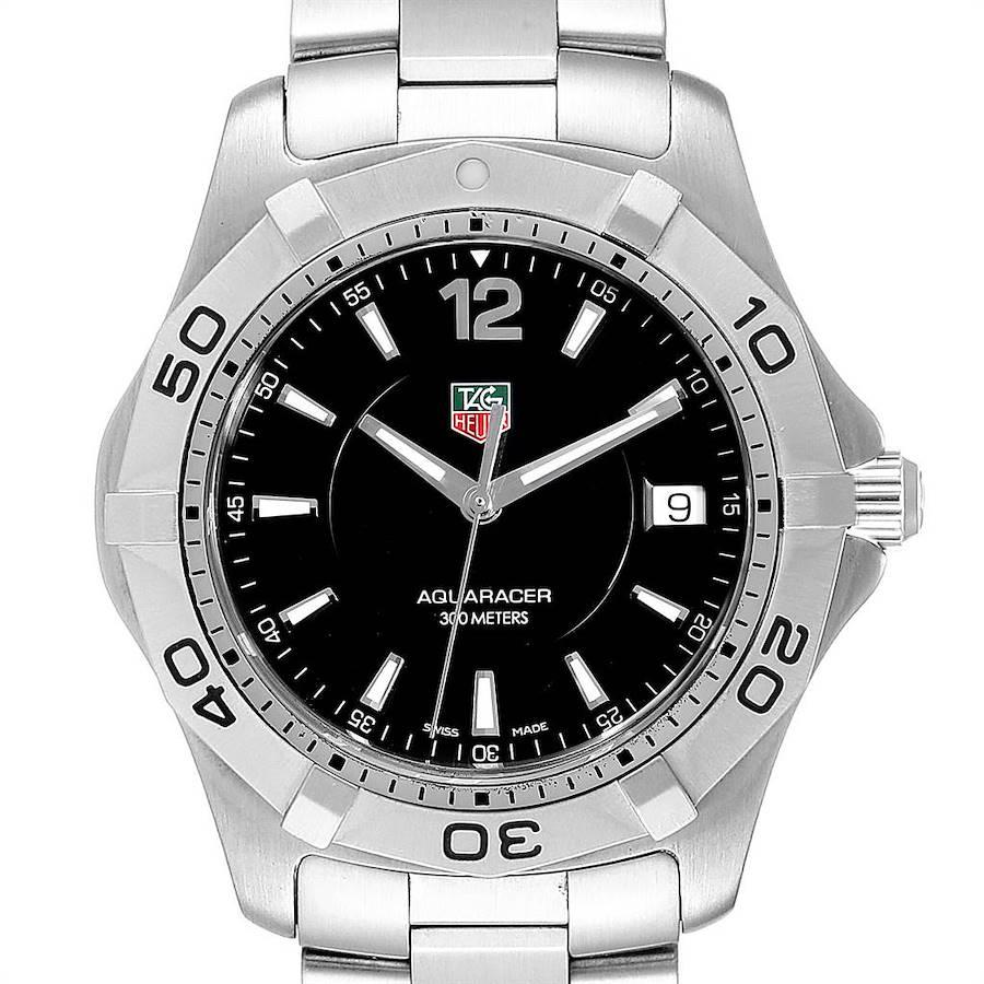 Tag Heuer Aquaracer 39mm Black Dial Quartz Steel Mens Watch WAF1110 SwissWatchExpo
