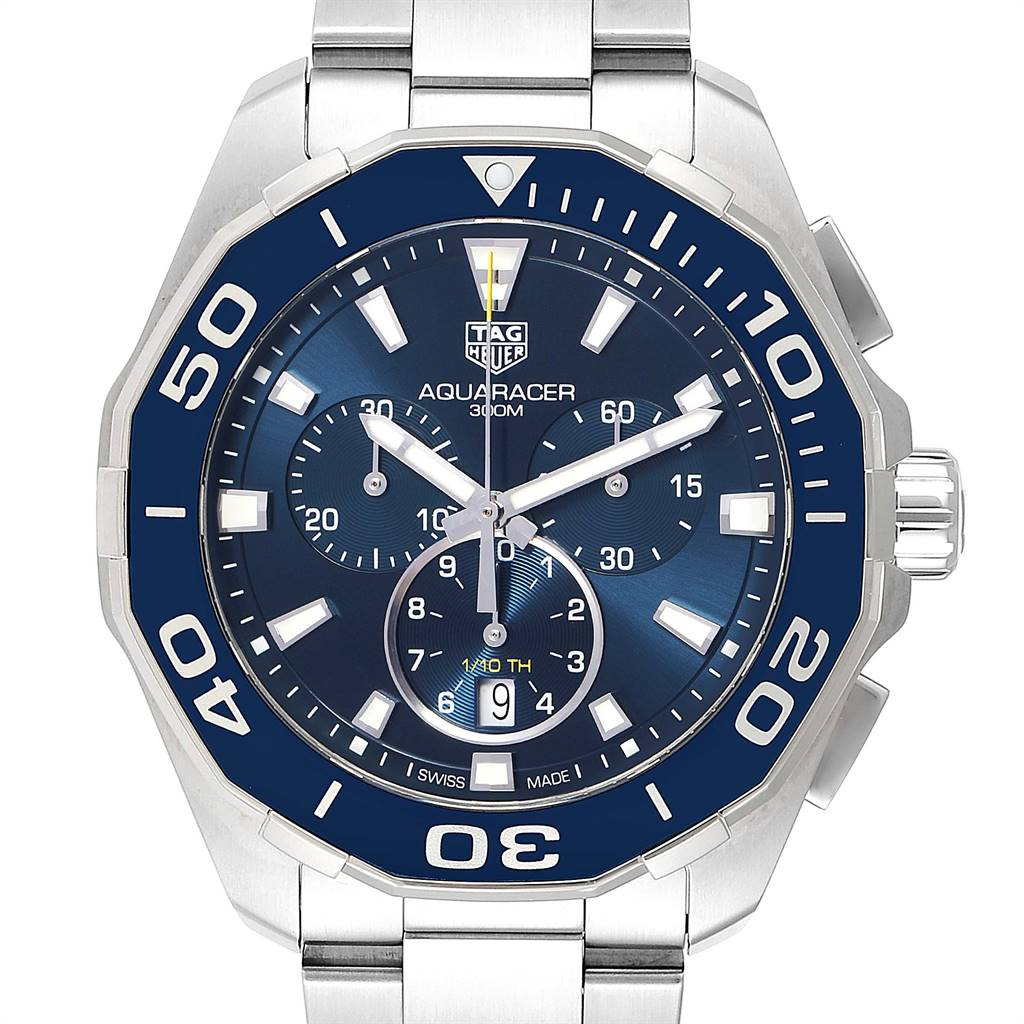 Tag Heuer Aquaracer Blue Dial Chronograph Steel Mens Watch CAY111B