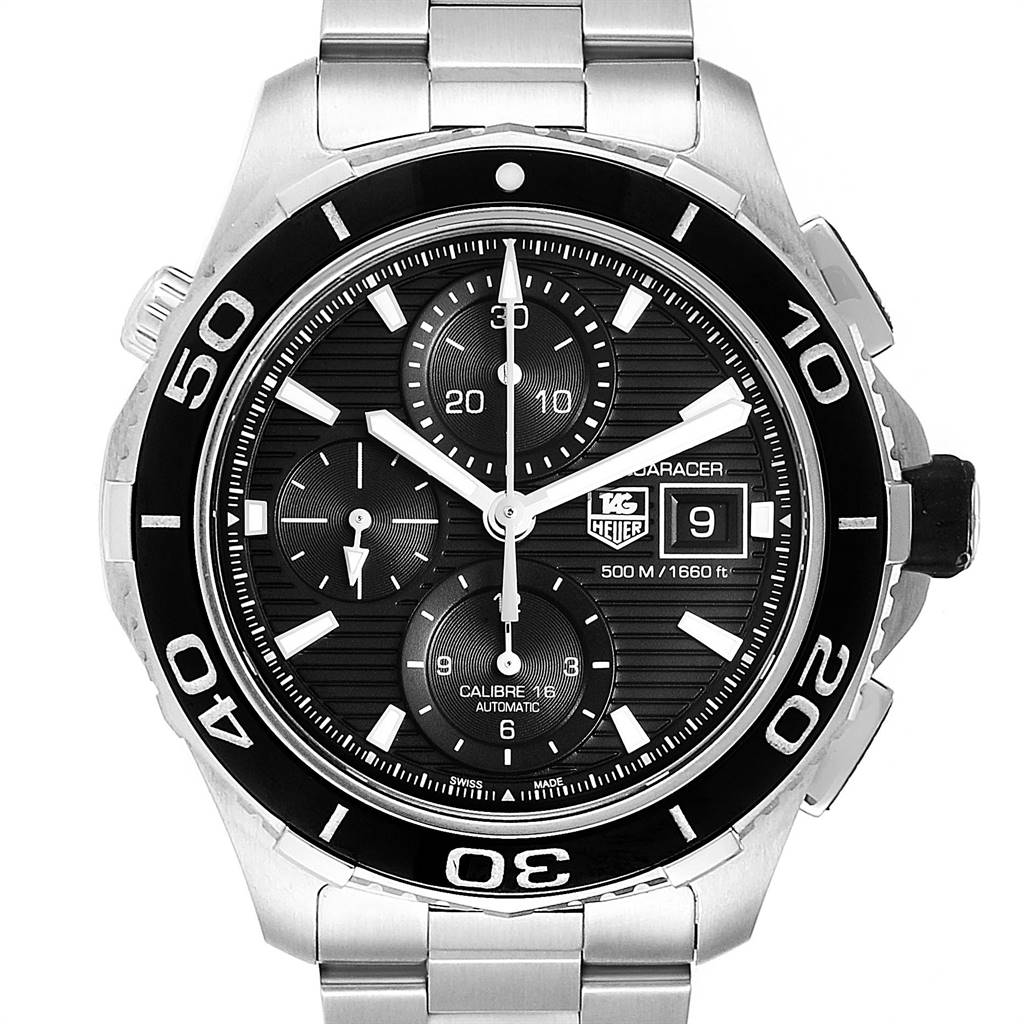 Tag Heuer Aquaracer Black Dial Steel Mens Watch CAK2110 Box Card
