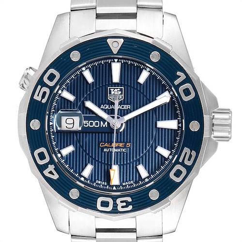 Photo of Tag Heuer Aquaracer Blue Dial Steel Mens Watch WAJ2112 Box