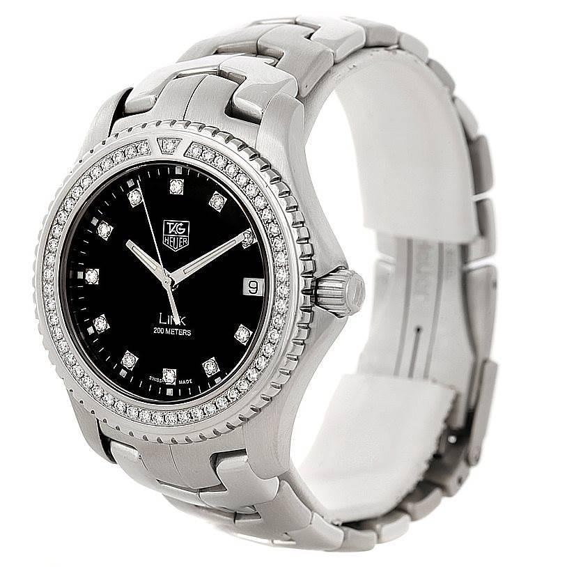 TAG Heuer Link Steel Black Diamond Dial Mens Watch WJ1117 SwissWatchExpo