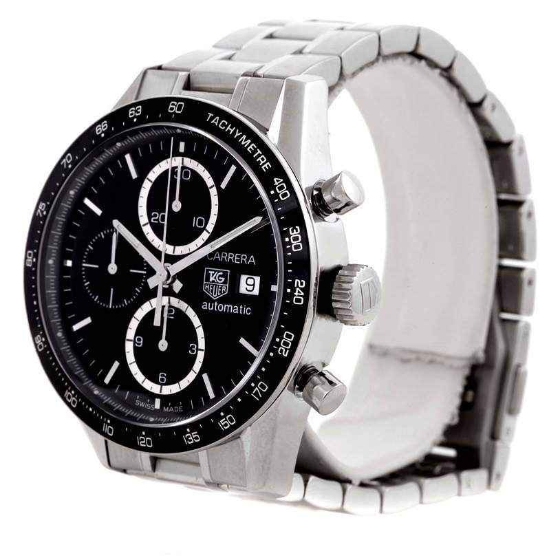 Tag Heuer Carrera Tachymeter Chronograph Black Dial Mens Watch CV2010 SwissWatchExpo