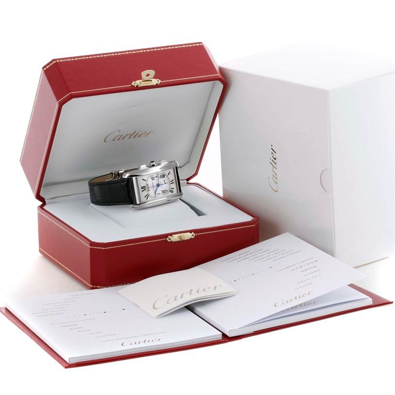 10409 Cartier Tank Americaine XL Chronograph 18K White Gold Watch W2609456 SwissWatchExpo