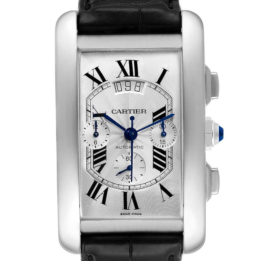 Cartier Tank Americaine XL Chronograph White Gold Mens Watch W2609456 Box Papers SwissWatchExpo