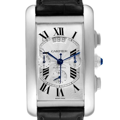 Photo of Cartier Tank Americaine XL Chronograph White Gold Mens Watch W2609456 Box Papers