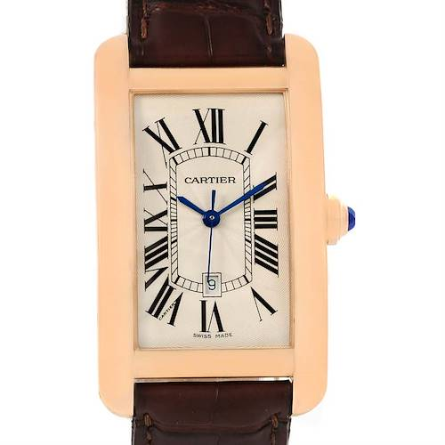 Photo of Cartier Tank Americaine Large 18K Rose Gold Brown Strap Watch W2609156
