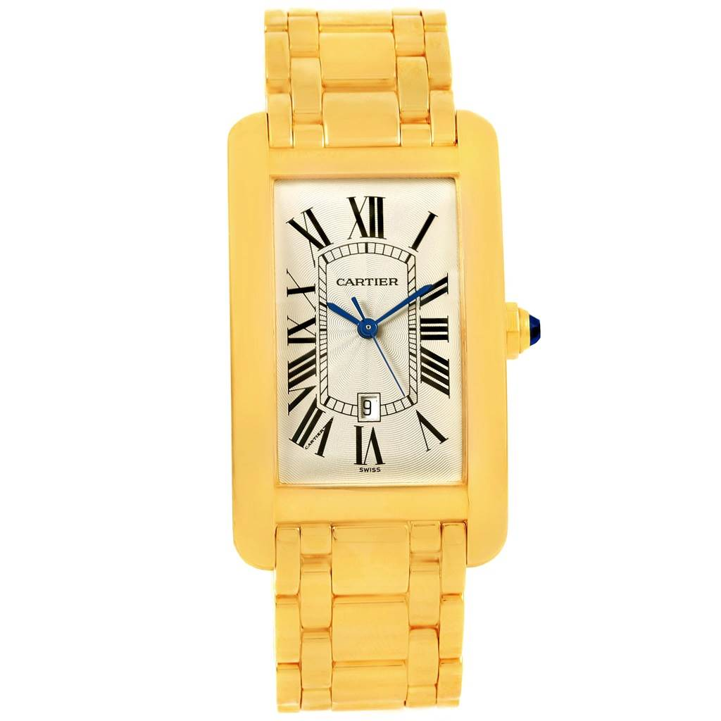 15134 Cartier Tank Americaine 18K Yellow Gold Automatic Mens Watch W26031K2 SwissWatchExpo