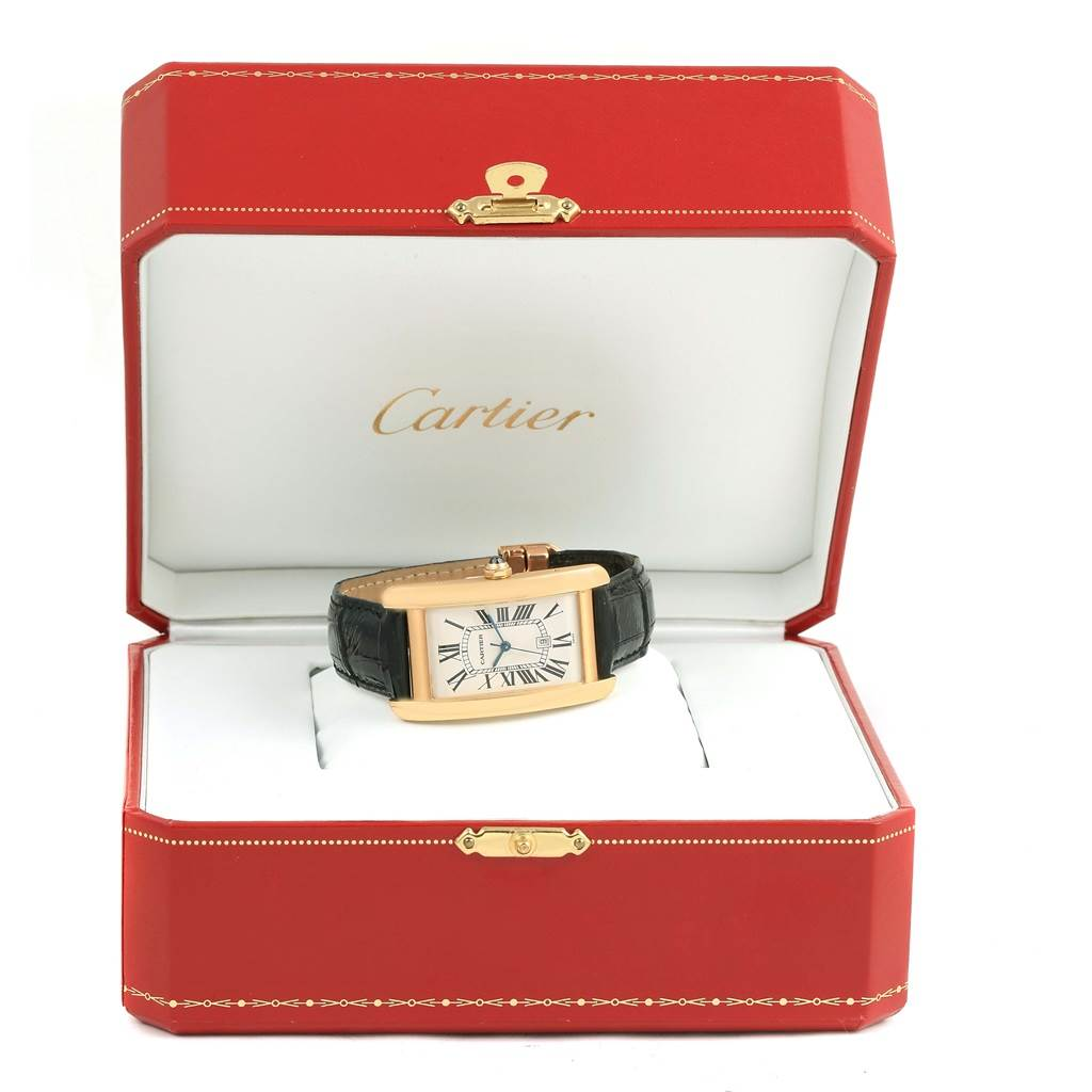 11849 Cartier Tank Americaine 18K Yellow Gold Automatic Mens Watch W2603156 SwissWatchExpo
