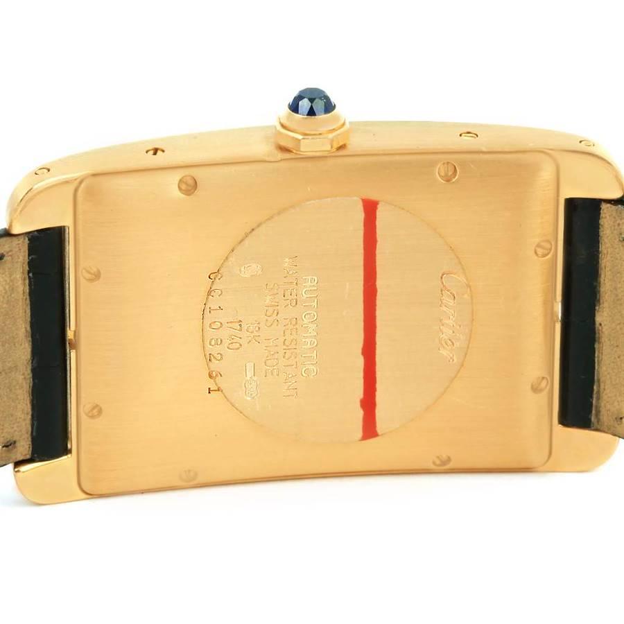 Cartier Tank Americaine 18K Yellow Gold Automatic Mens Watch W2603156 SwissWatchExpo