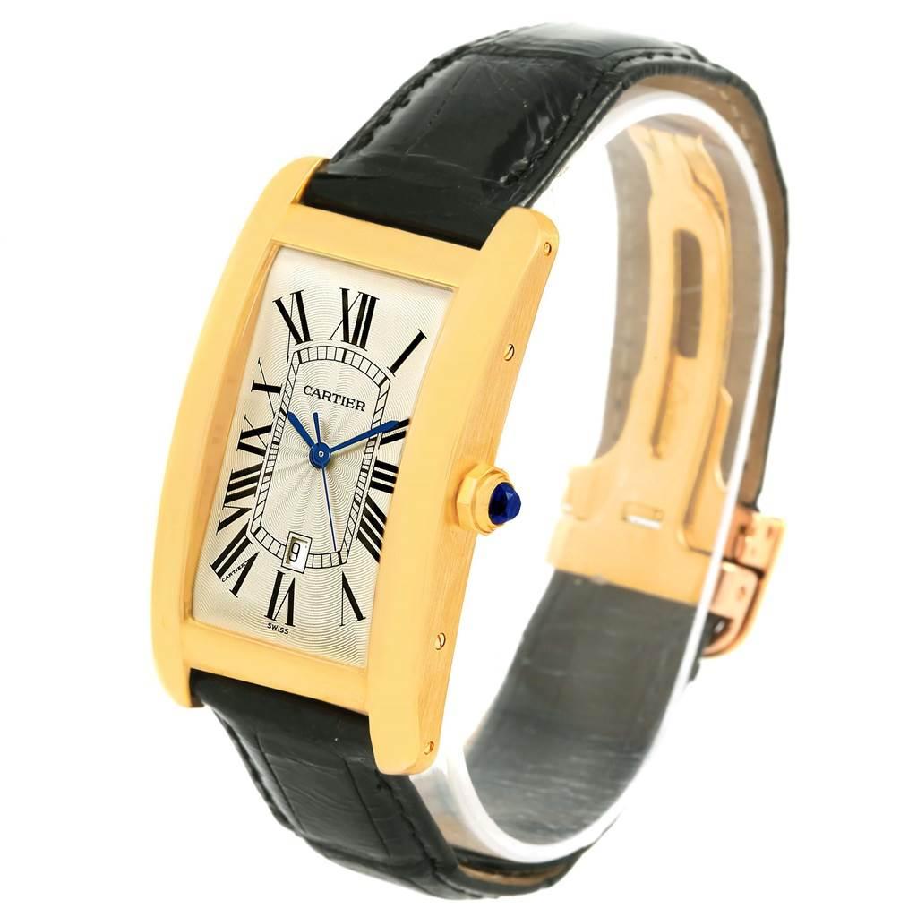 11849 Cartier Tank Americaine 18K Yellow Gold Automatic Mens Watch W2603156 SwissWatchExpo