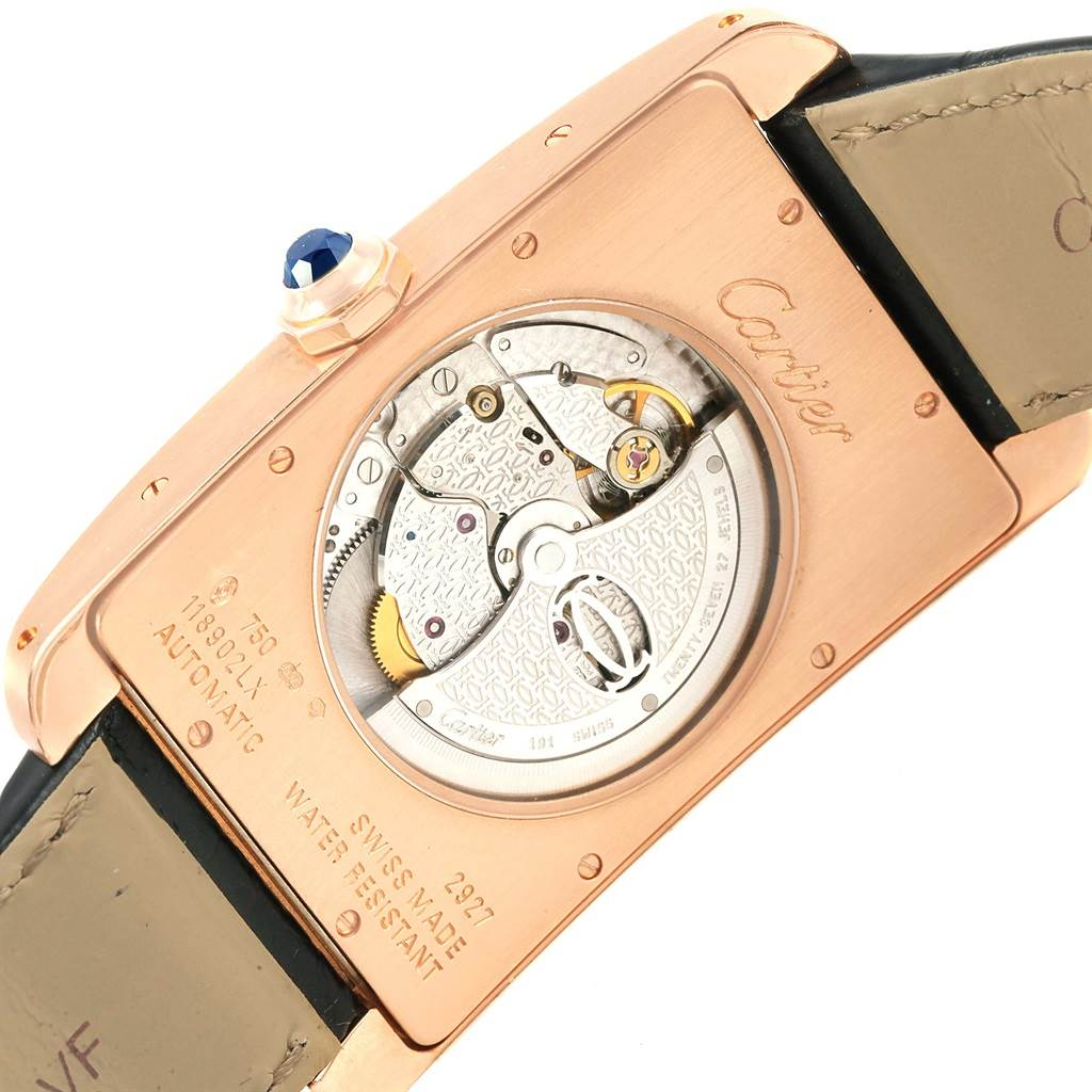 16956 Cartier Tank Americaine Rose Gold Automatic Mens Watch W2609856 SwissWatchExpo
