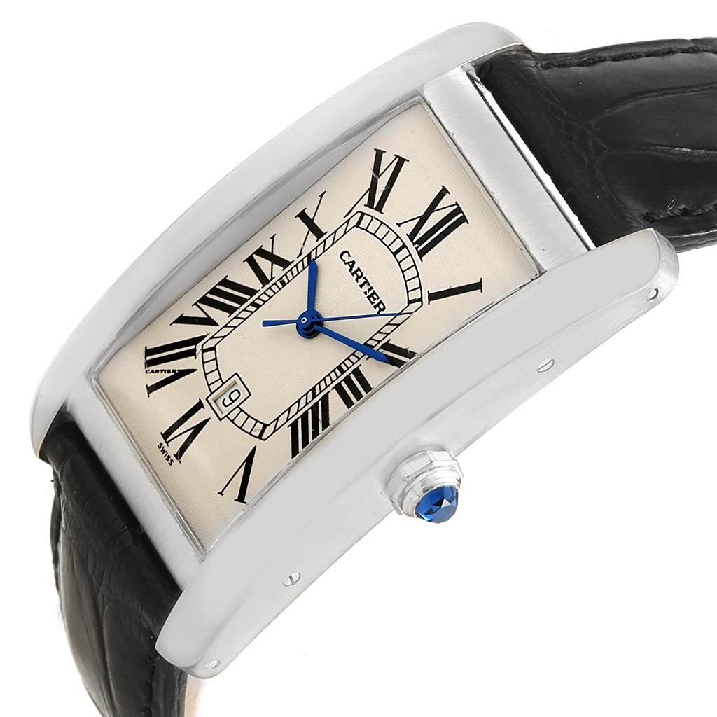 16210 Cartier Tank Americaine Large 18K White Gold Watch W2603256 SwissWatchExpo