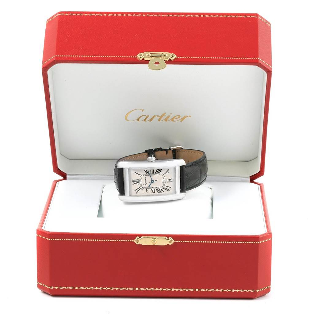 Cartier Tank Americaine Large 18K White Gold Watch W2603256 SwissWatchExpo
