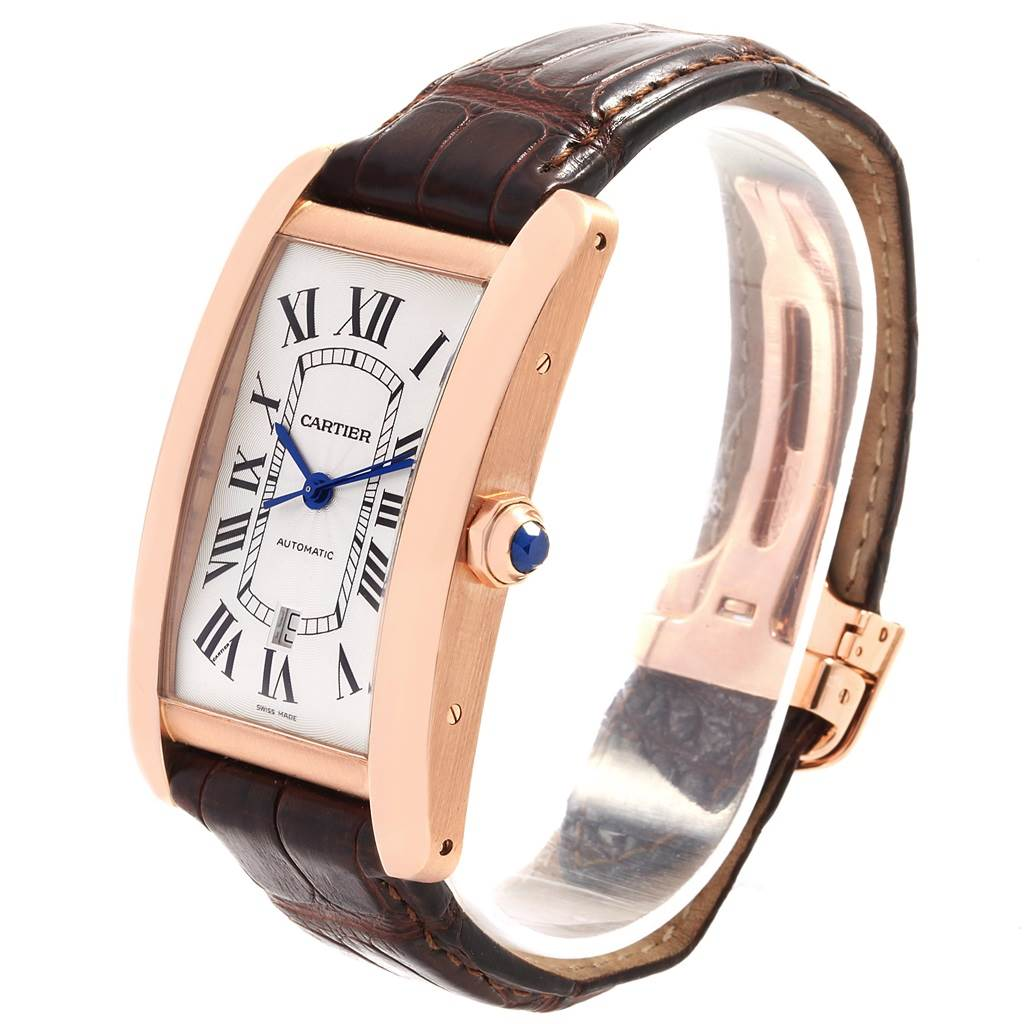 18830 Cartier Tank Americaine Rose Gold Automatic Mens Watch W2609856 SwissWatchExpo