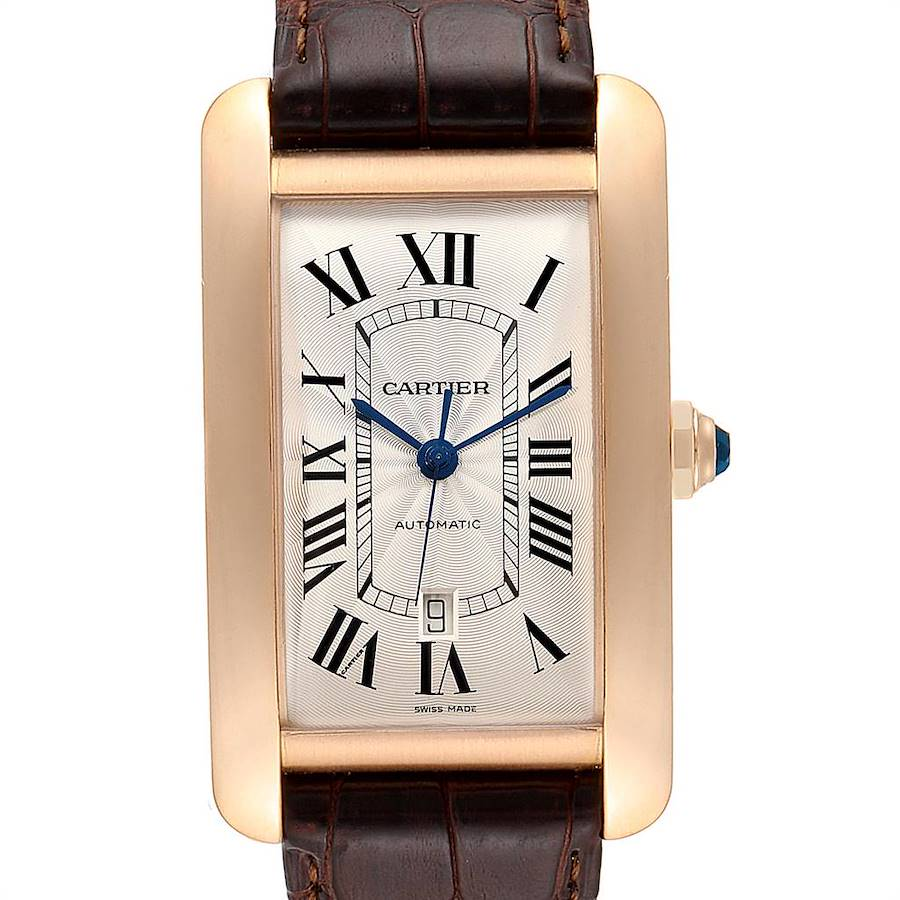 Cartier Tank Americaine Rose Gold Automatic Mens Watch W2609856 SwissWatchExpo