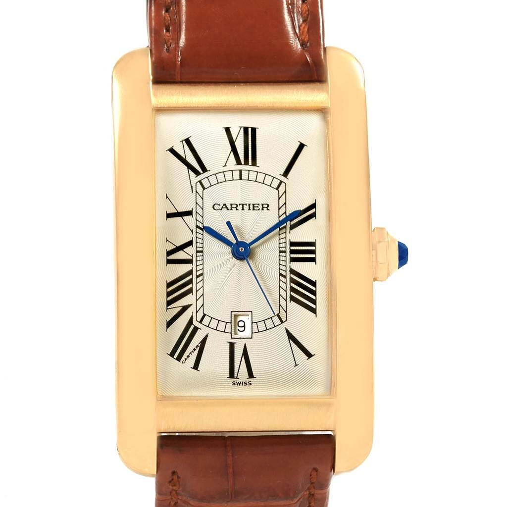 18721 Cartier Tank Americaine 18K Yellow Gold Automatic Mens Watch W2603156 SwissWatchExpo