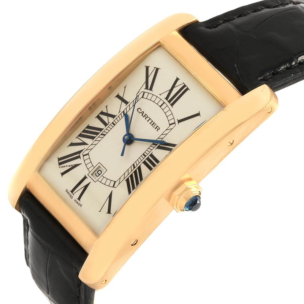 21151 Cartier Tank Americaine 18K Yellow Gold Automatic Mens Watch W2603156 SwissWatchExpo