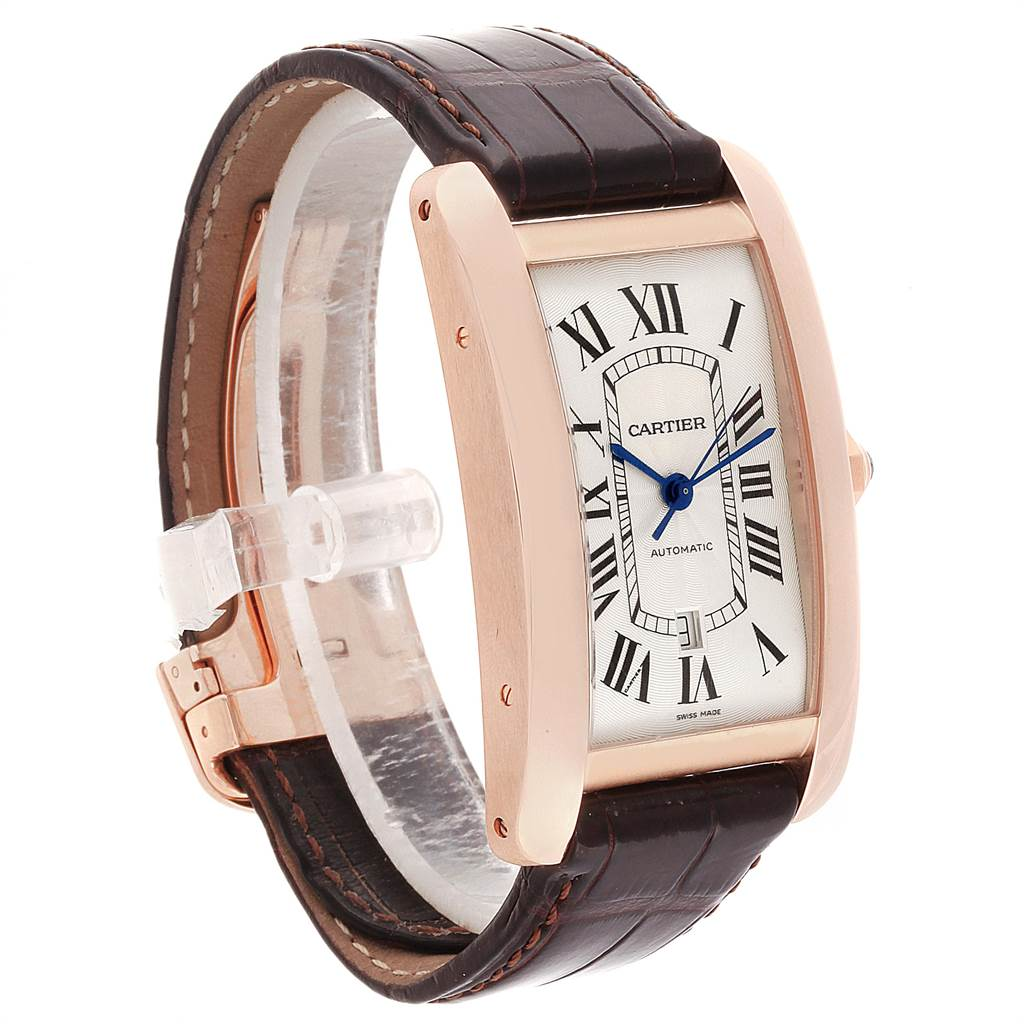22297 Cartier Tank Americaine Rose Gold Automatic Mens Watch W2609856 SwissWatchExpo