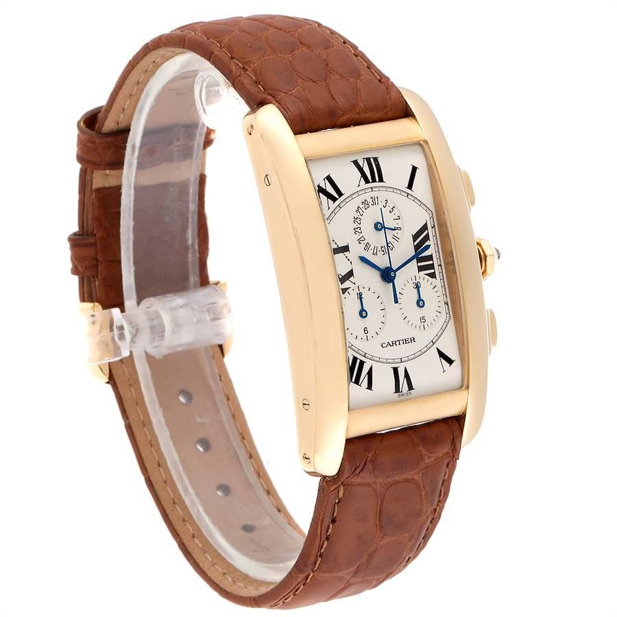 Cartier Tank Americaine Chronograph Yellow Gold Mens Watch W2601156 SwissWatchExpo