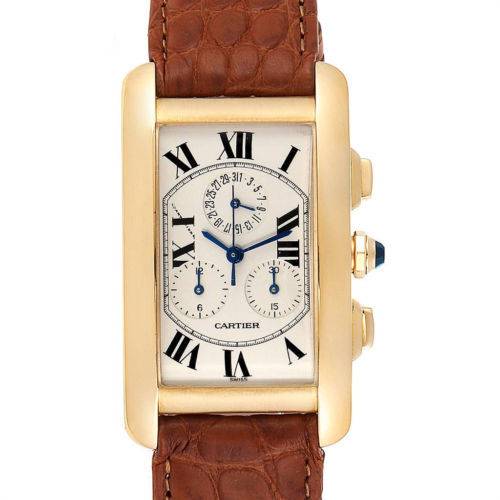 21921 Cartier Tank Americaine Chronograph Yellow Gold Mens Watch W2601156 SwissWatchExpo