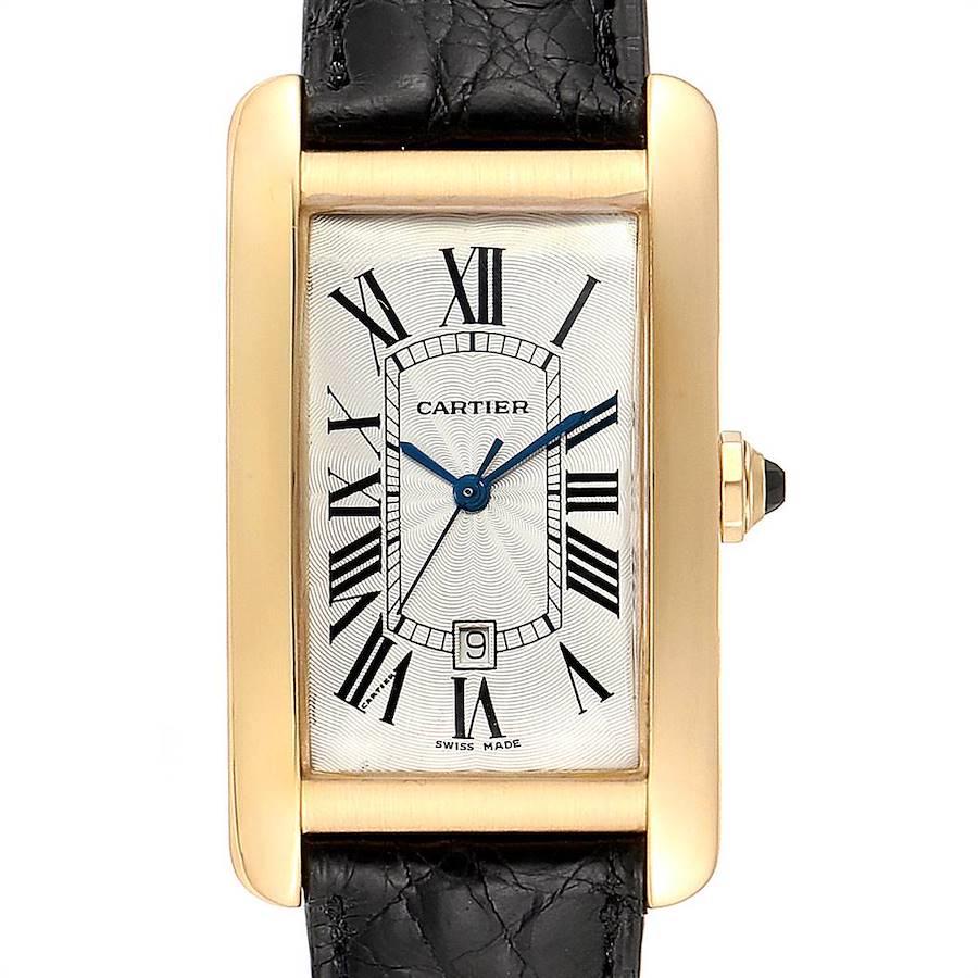 Cartier Tank Americaine Yellow Gold Automatic Mens Watch W2603156 SwissWatchExpo