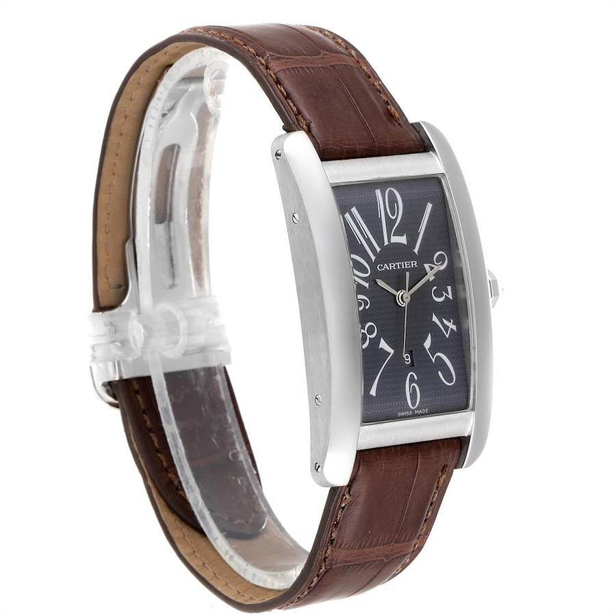 Cartier Tank Americaine Large White Gold Grey Dial Mens Watch W2605229 SwissWatchExpo