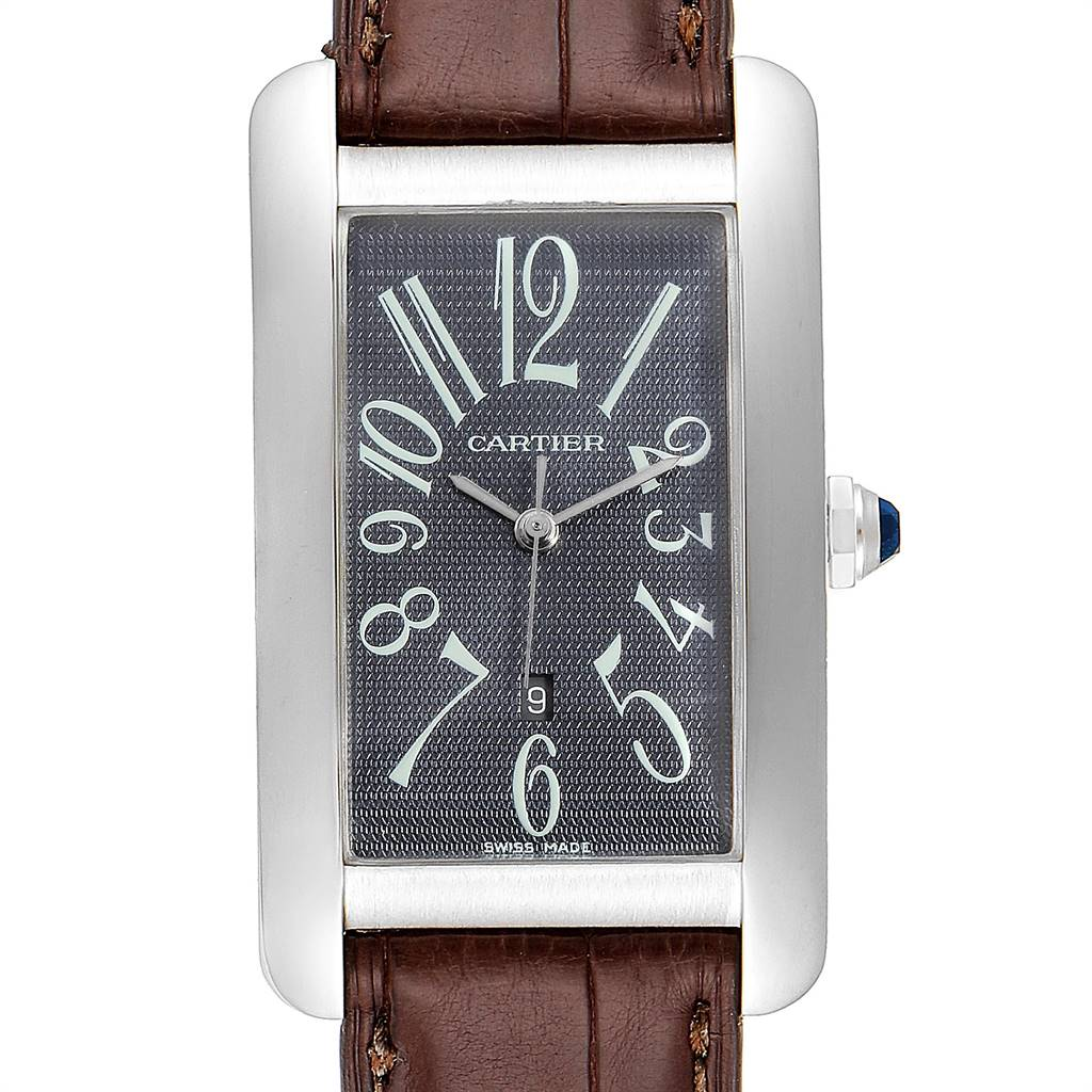 Cartier Tank Americaine Large White Gold Grey Dial Mens Watch W2605229