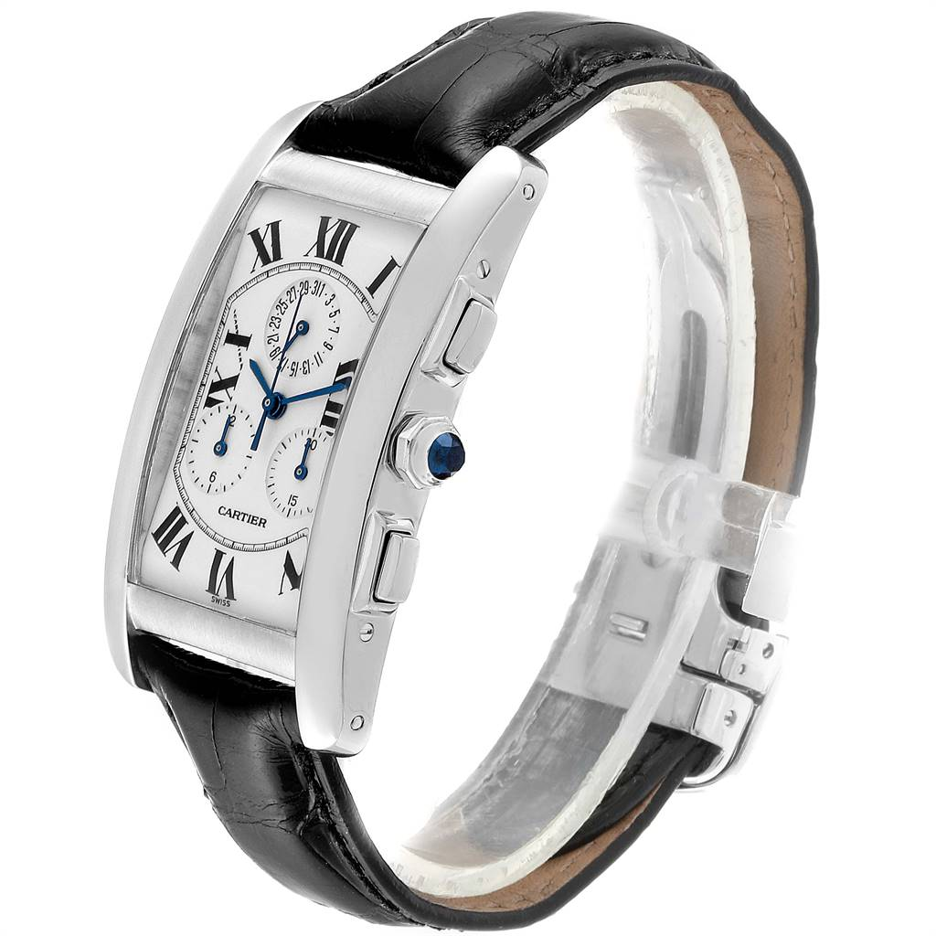 Cartier Tank Americaine Chronograph White Gold Mens Watch W2603358 SwissWatchExpo