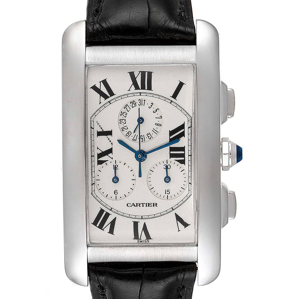 Cartier Tank Americaine Chronograph White Gold Mens Watch W2603358