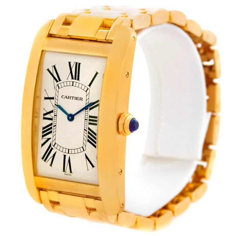 5817 Cartier Tank Americaine Large Yellow Gold Mechanique Mens Watch SwissWatchExpo